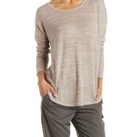 Marled Dropped Shoulder Pullover Sweater by Charlotte Russe