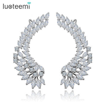 LUOTEEMI Korea Style Shining Crystal Big Angel Wings Pendant Earrings 925 Sterling Silver Pin Brincos Jewelry for Women Wedding