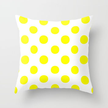 Polka Dots (Yellow/White) Throw Pillow by 10813 Apparel