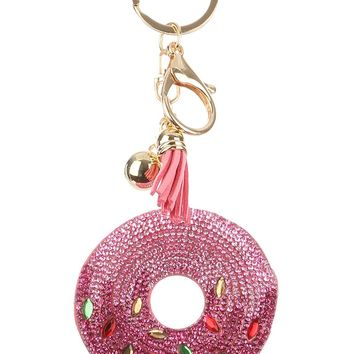 PInk Stuffed Donut Pave Crystal Key Chain