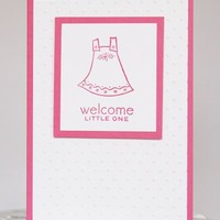 Pink Dress Congrats and Welcome to New Baby Girl Hand Made Card