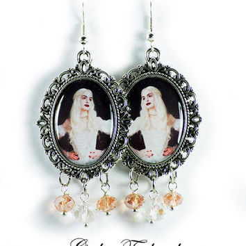 Tim Burton White Queen Earrings Altered Art