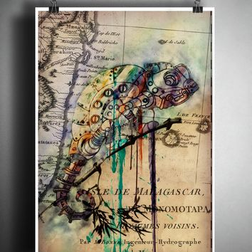Chameleon lizard splatter art, Mechanical animal colorful beach decor, old map artwork