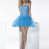 Strapless Sequin Layered Aqua Short Prom Dress PD1329