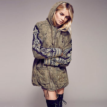 denim parka Women parkas winter military army green jackets Coat Hoodie Embroidered long sleeve abrigos Outwear clothing