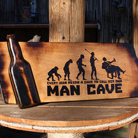 Man Cave Evolution Pyrography Bar Sign with Wooden Beer Bottle Inlay