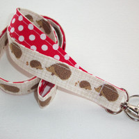 Lanyard  ID Badge Holder - Hedgehogs  - Lobster clasp and key ring - 2 toned white polka dots on red