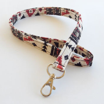 Tribal Print Lanyard / Aztec Indian Inspired / Boho Keychain / Bohemian / Key Lanyard / ID Badge Holder / Fabric Lanyard / Black and Red