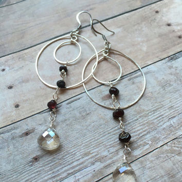 Garnet Hoop Earrings Chandelier Hoop Earrings Crystal Hoop Earrings Double Hoop Statement Earrings Double Hoop Dangle Earrings (E329)