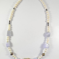 Pearl and Blue Lace Shell Necklace