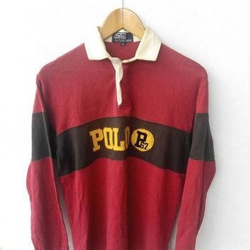 CLEARANCE SALE 25% 90's Vintage POLO Ralph Lauren P67 P Wing Stadium Rugby Shirt Hip