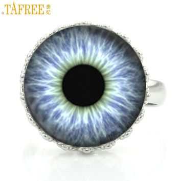 TAFREE novelty fashion dragon evil eye glass cabochon crown rings vintage cat eye photo jewelry exquisite men women ring D641