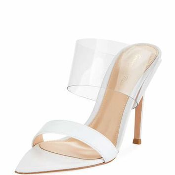 Gianvito Rossi Leather Plexi Slide Sandal