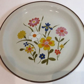 Spring Flower Kanney Multi-Color Flowers Stoneware Oven Proof Dinner Plate Japan