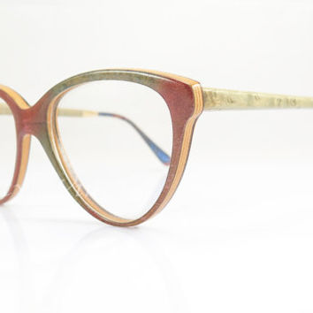 Gold & Wood , Vintage Eyeglasses  , Multicolor , Ultra Rare , Avant-Garde , Cat Eye , Luxury Frames , New Old Stock