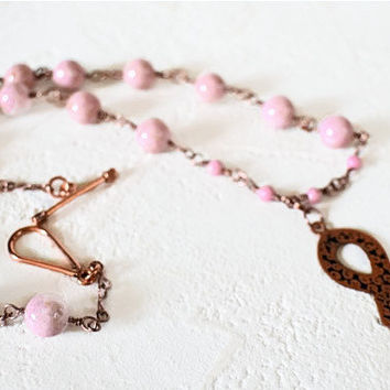 Etched Copper Breast Cancer Awareness Ribbon Necklace