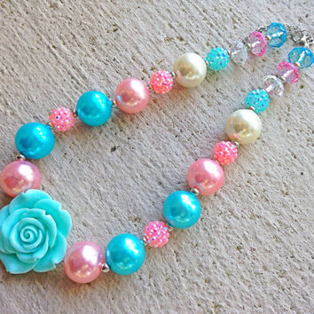 Chunky Necklace Aqua, Pink and Ivory  - Large Bead Necklace with Rose - Bubblegum Necklace - Baby Necklace- Toddler Necklace- Girl Necklace