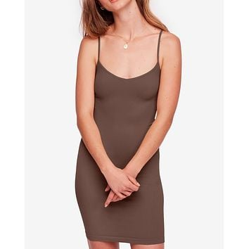 free people - seamless mini slip dress - dark brown