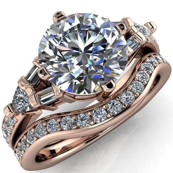 Frida Round Moissanite Half-Eternity Baguette Accent Euro Setting Ring