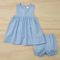 Periwinkle Gingham Seersucker A-Line Dress & Bloomers - Infant