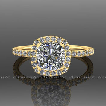 18k Yellow Gold Halo Diamond Moissanite Engagement Ring, Yellow Gold Wedding Ring Re00054r