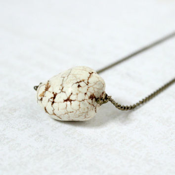 Simple Antique Gold and Beige Howlite Nugget Stone Beaded Minimalist Necklace - Rustic Jewelry