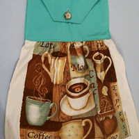 Hanging Dish Towel Set--Cappuccino with aqua  fabric top