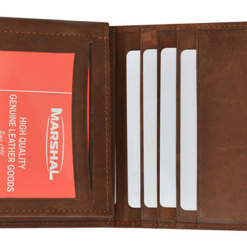 Mens Genuine Leather Bifold Credit Card ID Holder Money Clip Wallet Flap Up 1762 (C)