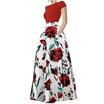 Vibrant Two-Piece Floral Print Long Skirt with Pockets, Sizes S-2XL