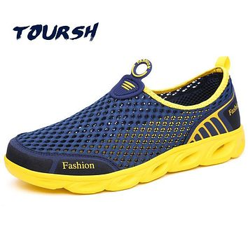 TOURSH Beach Shoes Swimming Water Shoes Sandals Men Outdoor Air Mesh Men Shoes Plus Size 39~45 Super Light Spring Summer Slip O