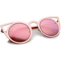 Women's Laser Cut Mirrored Lens Cat Eye Sunglasses - Shop Jeen - powered by Hingeto