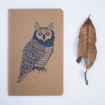 Owl Pocket Journal, 8 bit wise owl moleskine graduation teacher gift