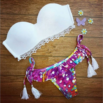 Women Sexy Bikini 2015 Bohemian Swimsuit Summer Holiday Beach Swimwear High Quality Big Size Bikini