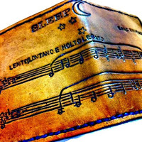 Pick Your Song,Sheet Music,Custom Music,Leather Wallet,Song Wallet,Anniversary,Anniversary Present,Music Gift,holds12 cards,2 bill slots