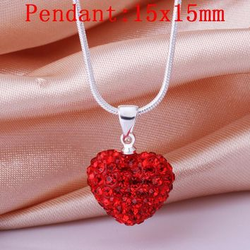Necklace Women's Fashion Jewelry Loverly Romantic Slide Heart Pendant Crystal Silver Color Red Necklaces For Women