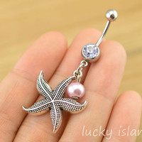 belly ring,starfish belly button jewelry,purple pearl belly button rings,navel ring,piercing belly ring,body piercing bellyring