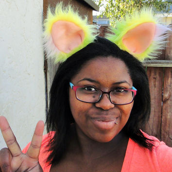 Clip in Golden Sherbet Furry Cat Kitty Fluffy Bunny Ears Rave UV Reactive Sherbert