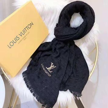 Louis Vuitton Fashionable Women Men LV Letter Embroidery Cashmere Cape Scarf Scarves Shawl Accessories Black
