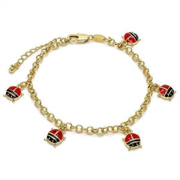 Gold Layered 03.63.1361.07 Charm Bracelet, Ladybug and Rolo Design, Multicolor Enamel Finish, Gold Tone