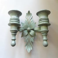 Patina Painted Wood and Brass Wall Sconce