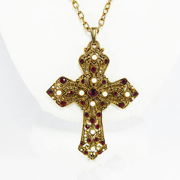 Rhinestone & Faux Pearls Filigree Cross Pendant and Chain Red Rhinestones Western Germany Vintage 1960s 1960s Mid Century European Jewelry