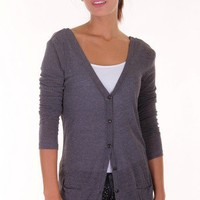 CHARCOAL LOW CUT/DRAPED CARDIGAN @ KiwiLook fashion