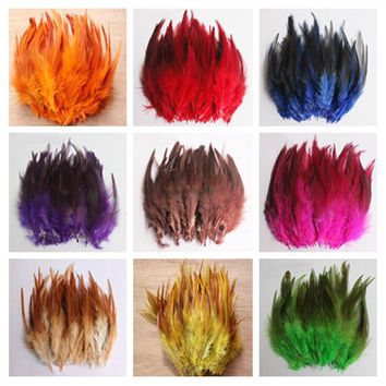 50pcs/lot 12Colors Natural Rooster Feather 10-15cm For Wedding/carnival Dress Jwelry Centerpieces Raft Pheasant Chicken Plume
