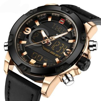 Luxury Mens Analog & Digital Leather Strap Quartz Sports Watch