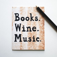 Books Wine Music card birthday greeting notecard