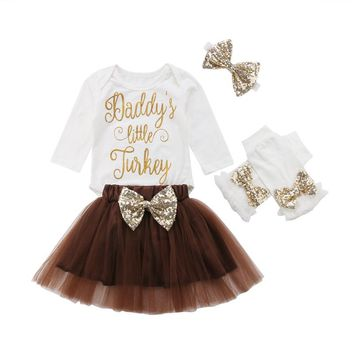 4PC Daddy's Little Turkey Thanksgiving Outfit