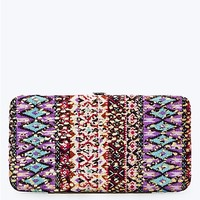Purple Sequined Tribal Hinged Wallet