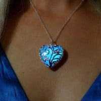 Magical Aqua Blue Love Heart Tree of Life Glow in the Dark Pendant Necklace