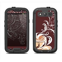 The Steaming Vector Coffee Floral Samsung Galaxy S3 LifeProof Fre Case Skin Set