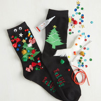 Handmade & DIY Show Off Your Creativi-Tree DIY Socks Size OS by ModCloth